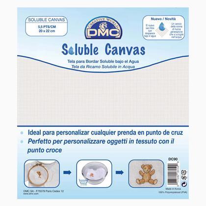 DMC soluble Canvas 14 Count 20 x 22 cm//8 x 8.5 Blanc